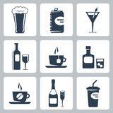 Vector beverages icons set Stock Photography