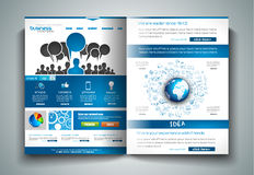 Vector bi-fold brochure template design or flyer layout to use for business Stock Images