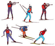 Vector biathlon set. Biathlon silhouette set. Vector stock illustration for design Royalty Free Stock Photos