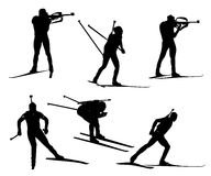 Vector biathlon set. Biathlon silhouette set. Vector stock illustration for design Royalty Free Stock Photography
