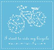 Vector bicycle of butterflies on a blue background Stock Image