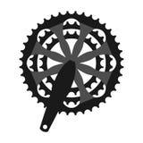 Vector bicycle cogwheel crankset sprocket. Bike crankset cassette symbol Stock Image
