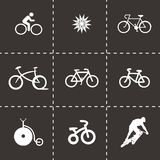 Vector bicycle icons set. On black background Royalty Free Illustration