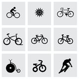 Vector bicycle icons set. On grey background Stock Illustration