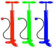 Vector bicycle red green blue air pump Stock Images