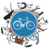 Vector Bicycle Spares Concept with Blue Round Sign Stock Image