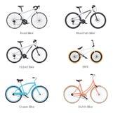 Vector bicycles set Royalty Free Stock Photos