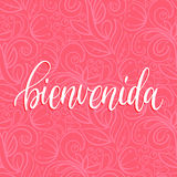 Vector Bienvenida calligraphy, spanish translation of Welcome phrase. Hand lettering on abstract pink background Royalty Free Stock Photography