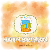 Vector big birthday cake with burning candles Stock Photos