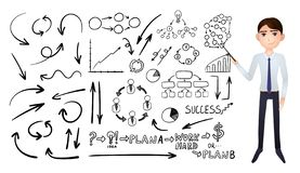 Vector Big Collection of Business Hand Drawn Doodle Elements Isolated on White Background, Black Drawings and Cartoon Businessman. stock illustration