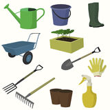 Vector big collection of gardening tools. Forks, rakes, watering can, bucket, boots, seedlings, shovel forks sprayer gloves cart pots royalty free illustration
