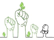 Big Green Hands with Cartoon Character - Protest vector illustration
