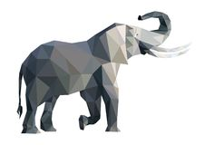 Vector big grey geometric elephant. From triangles  on white background, side view, eps Royalty Free Stock Photos
