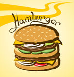 Vector Big Hamburger Royalty Free Stock Photo