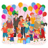 Vector big happy family together celebrate a birthday with gifts, balloons and cake. Vector illustration of a big happy family - grandfather, grandmother, dad Stock Photography