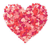 Vector big heart made from hearts shapes pink and red confetti on white. Background vector illustration