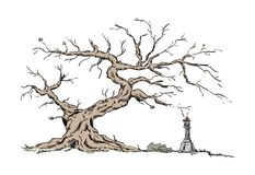 Big old tree and Chapel vector illustration