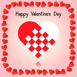Vector of big red heart, paper cut, cross Royalty Free Stock Images