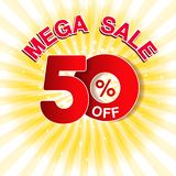 Vector big sale banner. Mega sale with 50 off. Red special offer on yellow striped background. Template design. Illustration royalty free illustration