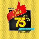 Vector big sale banner. Mega sale, up to 75 off. Red blue special offer only this weekend. Template design with best choice symbo royalty free stock images