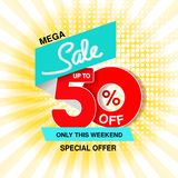 Vector big sale banner. Mega sale, up to 50 off. Red blue special offer only this weekend. Business template design on yellow str. Iped background royalty free illustration