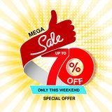 Vector big sale banner. Mega sale, up to 70 off. Red blue special offer only this weekend. Template design with best choice symbo. L on yellow striped background royalty free illustration