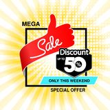 Vector big sale banner. Mega sale, up to 50 off. Red blue special offer only this weekend. Template design with best choice symbo. L on yellow striped background stock illustration