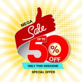 Vector big sale banner. Mega sale, up to 50 off. Red blue special offer only this weekend. Template design with best choice symbo. L on yellow striped background vector illustration