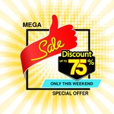 Vector big sale banner. Mega sale, up to 75 off. Red blue special offer only this weekend. Template design with best choice symbo stock photography