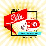 Vector big sale banner. Mega sale, up to 50 off. Red blue special offer only this weekend. Template design with best choice and w. Ith black frame on yellow stock illustration