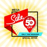 Vector big sale banner. Mega sale, up to 50 off. Red blue special offer only this weekend. Template design with black frame on ye. Llow striped background vector illustration