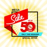 Vector big sale banner. Mega sale, up to 50 off. Red blue special offer only this weekend. Template design with black frame on ye. Llow striped background royalty free illustration
