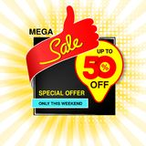 Vector big sale banner. Mega sale, up to 50 off. Red blue yellow special offer only this weekend. Template design with best choic. E symbol on yellow striped royalty free illustration