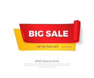 Vector big sale banner. Realistic curved red and yellow paper ribbons with shadow and space for text for discounts offers. Isolated from the background Royalty Free Stock Photos