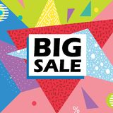 Vector of big sale banner template pop abstract geometric background multicolor royalty free illustration