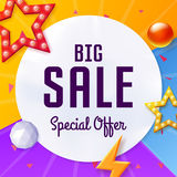 Vector big sale cover with elements, on colorful background Royalty Free Stock Images