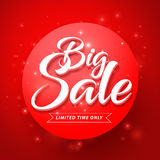Vector Big Sale and Discounts Text in Glossy Abstract Red Background. For Shopping Promotion Banner. Vector Illustration stock illustration