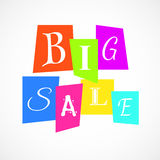 Vector Big Sale Poster from Color Paper over white Royalty Free Stock Images