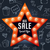 Vector Big Sale retro light banner on chalkboard with doodle objects. Star frame with bulb for shopping Stock Image