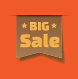 Vector big sale tag on orange background. Royalty Free Stock Image