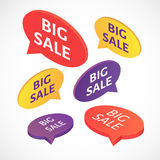 Vector Big sale text bubble set. Vector isometric BIG SALE text bubble set Stock Photo