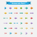 Vector Big  set arrows in flat style. Vector Big colorful icon arrows set in flat style.Light and shadow.Blue,green,purple,red colors.Arrow  on a white Royalty Free Stock Images