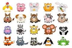 Big set cute cartoon triangular animals stock illustration