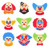 Vector big set with different clowns cartoon. Vector pack with scary, crazy and funny clown Royalty Free Stock Photo