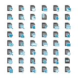 Vector big set Document File blue and black icons. Isolated on a white background Stock Image