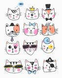 Big kawaii set of doodle cute sweet cats, sketch characters, hand drawn, cats faces ith different emotions, emoticons, smileys. Cats faces ith different emotions royalty free illustration
