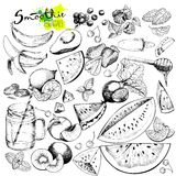 Vector big set of fruits and vegetables for detox smoothie. Hand drawn engraved monochrome elements. Use for restaurant, menu, ingredients, design, package Stock Photo