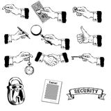 Vector big set of icons of mens hands making various gestures, holding money, pen, magnifying glass, key, pocket watch. Vector big set of icons of mens hands Stock Images