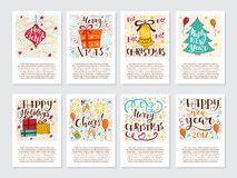 Vector big set of New Year and Christmas greetings cards Royalty Free Stock Photos