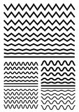 Vector big set of seamless wavy - curvy and zigzag - criss cross Stock Photography